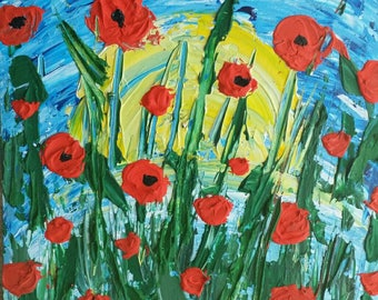 Acrylic Impasto Painting of Poppies