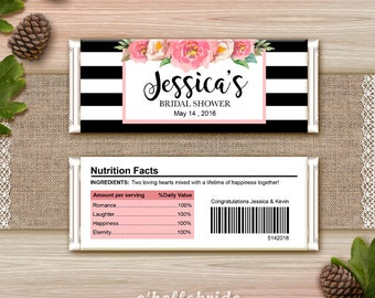 Personalized Chocolate Wrapper Peony Bridal Shower Floral Printable - Pink Chocolate Wrapper - Custom Candy Wrapper Pink Bridal Shower 019