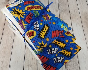 Baby Boy Burp Cloth Set - Superhero Comic Book Words