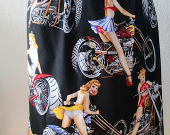Hot girls on motorcycle bikes knee length skirt by Alexander Henry Fabric plus made in USA (VN9)