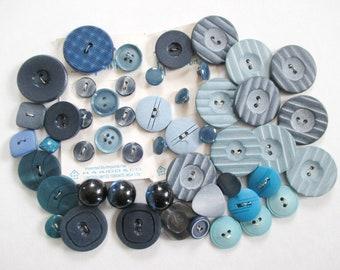 50 Blue Buttons Plastic Estate Lot Vintage Some on Cards