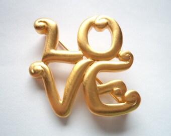 Vintage Signed JJ Gold pewter LOVE Brooch/Pin