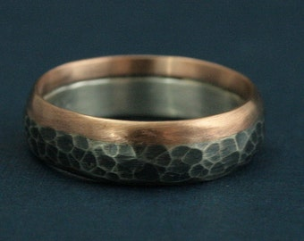 Two Tone Hammered Band--Revolution Ring--14K Rose Gold and Silver Ring--Steampunk Band--Hammered and Oxidized Silver Ring-Men's Wedding Band