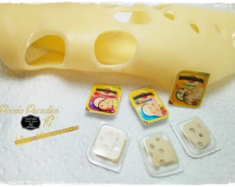 Italian Miniature Food, Handmade,  Confezioni a scelta di Leerdammer in miniature dolls house in 1:12 th scale