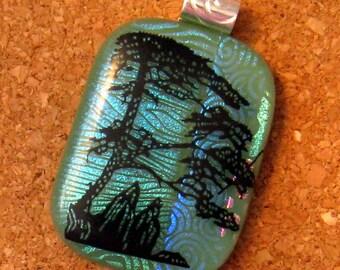 Dichroic Pendant - Nature Scene Pendant - Fused Glass Pendant -  Fused Glass Jewelry - Dichroic Jewelry