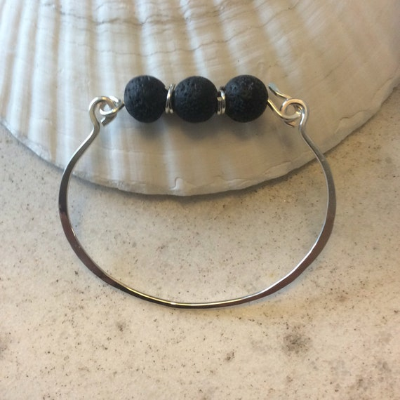 Sterling Silver and Lava Rock Essential Oil Bracelet
