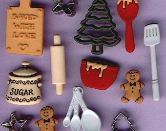 CHRISTMAS COOKIES Baking Bake Gingerbread Man Novelty Dress It Up Craft Buttons