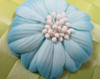 """1 pieces in 3"""" width in light blue color poly floral pin for your fashion/wedding design decorative"""