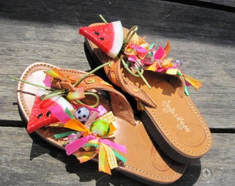 "Leather greek sandals/ flip flps / handcrafted  sandals / authentic / embellished leather sandals / handmade stylish sandals ""Watermelon"""