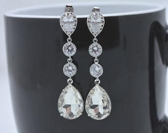 Crystal Teardrop Earrings, Long Teardrop Earrings, Crystal Wedding Earrings, Rhinestone Bridal Earrings, Long Rhinestone Teardrop 0282