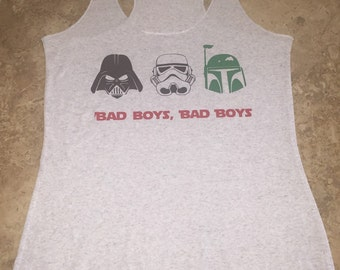 """Custom Star Wars Disney Inspired """"Bad Boys"""" Darth Vader Boba Fett Stormtrooper Tank Top Shirt Gift Vacation Mens Womens Gym Fitness"""