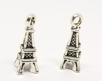 10 3D Eiffel Tower Antique Silver Tone Charms for Jewelry Making