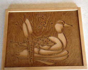 duck wooden cut out wall hanging