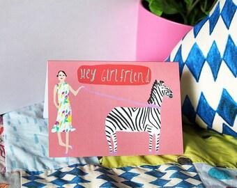 SALE: Sassy lady card hey girlfriend cute friend card cc70