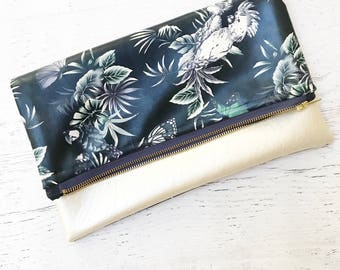 Birds of Paradise Reversible Navy & Ivory Faux Leather Foldover Clutch - Gift for her, Birthday, Anniversary, Bridesmaid
