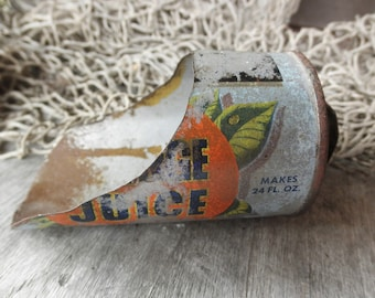 Primitive Vintage Tin Metal Scoop Handmade Homemade from Pictsweet Orange Juice Concentrate can Advertising