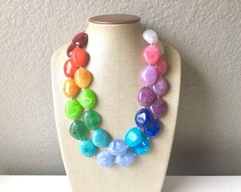 Rainbow Beaded Necklace, Colorful Jewelry, Chunky statement necklace, big beaded necklace, rainbow jewelry, rainbow baby