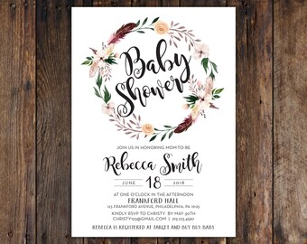 Fall or Winter Burgundy and Peach Flowers with Feathers 5x7 Baby Shower Invitation Print at Home DIY Version