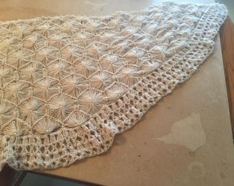 "69"" X 24"" tan shawl with pearls"
