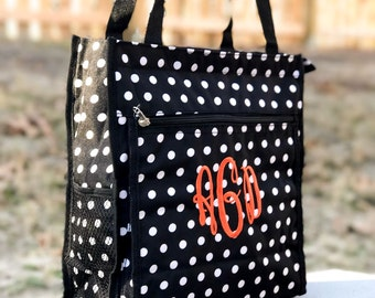 Many Colors - Polka Dot Tote Bag, Kids Tote Bag, Dance Bag, Personalized Dance Bag, Flower Girl Gift, Girls Bag, Gym Bag, Canvas Tote, GIFT