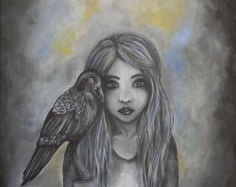 acrylic painting on canvas, child, girl, crow, forest, dark