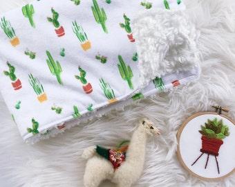 Minky Blanket / Watercolor Cactus / Snuggle Blanket / Cuddle Blanket  / Cactus/Fur Blanket