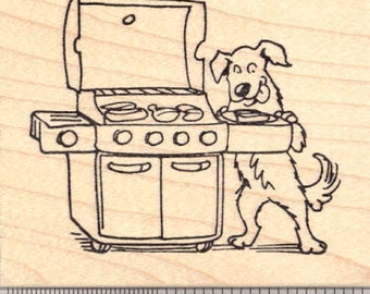 Dog with Gas Grill Rubber Stamp, Barbecue Grillout, Cookout J24809 Wood Mounted
