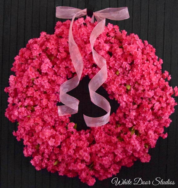 Hot Pink Ruffle Flower Spring and Summer Front Door Wreath