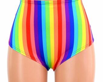 "High Waist ""Siren"" Hot Pants in Vertical Rainbow Stripe Print Spandex Rave Festival Clubwear Bright Pride Parade - 154657"