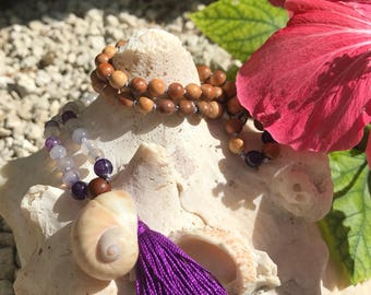 108 Mala Necklace Meditation Jewelry Prayer Beads Yoga Boho Indie Aromatherapy Diffuser Essential Oil Agate Wood Gifts for Her