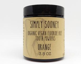 Glass Jar Organic Vegan Fluoride Free Remineralizing Tooth Powder Orange Formula 3.5oz (3-6 month supply, 100 grams)
