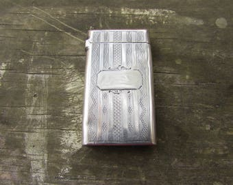 Antique Edwardian Sterling Silver Match Safe - Victorian Sterling Vesta Case - Sterling Match Holder - Sterling Match Stricker - No Monogram