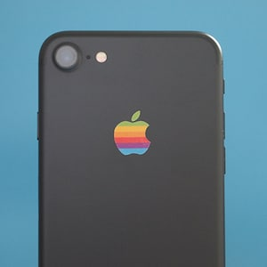 Set of 2 Retro vintage apple rainbow logo iPhone X, iPhone 8, iPhone 7 and older Decal sticker fits all sizes.