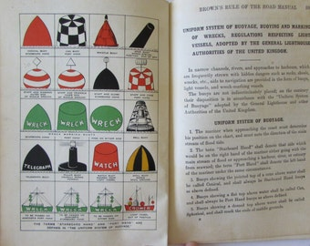 Vintage (1940s) nautical book, 'Brown's Rule of the Road Manual for the Ministry of Shipping Examinations'