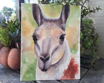 """ORIGINAL """"Guanaco"""" - Guanaco, Llama, Alpaca, Llama Portrait, Llama Painting, Watercolor Llama, Watercolor, Original Painting"""