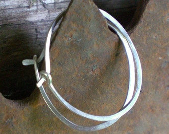 Sterling Silver Hammered Round Hoops