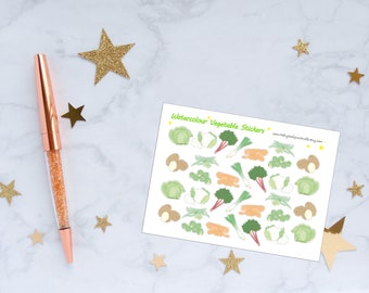 Watercolour Vegetable Planner Stickers, Vegetable Stickers, Watercolour Stickers, Vinyl Stickers