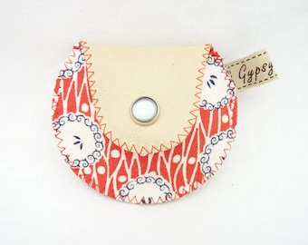 The Mini Gypsy Vintage Coin Purse Beige Leather and Feed Sack Vintage Fabric