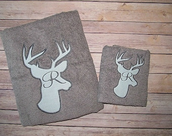 Deer Towels, Personalized Towels, Monogrammed Towels, Housewarming Gift,  Wedding Shower Gift, Buck Towels, Monogrammed Bath Towel Set, Deer