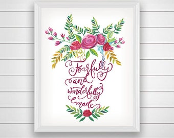 SALE 50%Bible verse art Fearfully and wonderfully made print Psalm 139:14 nursery decor printable wall art Scripture christian print