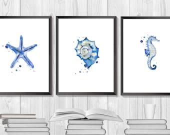 Sea Set. Marine Art. Blue Watercolor Print. Oceanic Decor. Bathroom Sea Art. Sea Creature Print. Beach Art. Shell print.  Home Gift Idea.