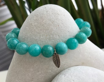 Amazonite Bracelet, Throat Chakra Bracelet, Energy Bracelet, Natural Gemstone Bracelet.
