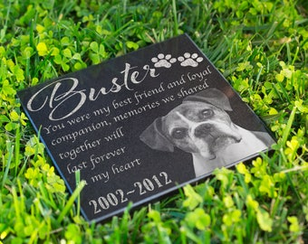 Personalized Memorial Pet Stone Granite - Engraved Headstone with YOUR Pets Photo Burial Cemetery Stone, Grave Marker for Best Companion #13
