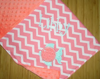 Girlie Fish Coral Minky Baby Blanket - Coral Chevron with Coral Minky - Custom Monogram