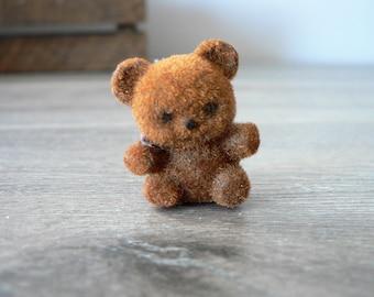 Vintage Mini Flock Teddy Bear Pin