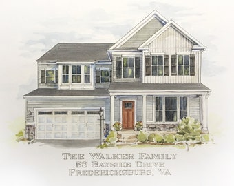 """15"""" x 20"""" Watercolor Home Commission"""
