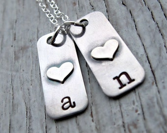 Personalized, Hand Stamped Kid's Initials Necklace,  Sterling Silver Tags, Mother's Necklace