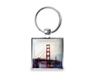 Golden Gate Bridge in San Francisco - Glass Photo Keychain - Handmade
