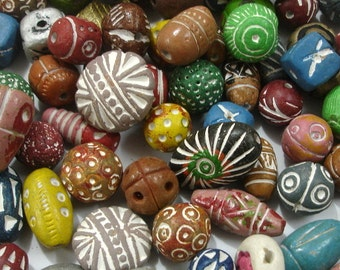 25 Pcs Hand Made & Hand Coloured Terracotta Beads, Clay Beads Natural
