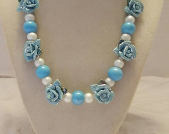 Blue Flower Necklace One Of A Kind Necklace Blue and White Necklace White and Blue Necklace Bridesmaid Necklace Weddings Flower Necklace